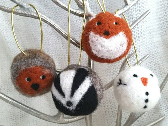 Unique Needle Felt Baubles Fox Badger Robin Christmas Tree Decorations Ornaments by Apulina who you'll find at #dorsetteam Christmas fair, 3rd December, #Wimborne