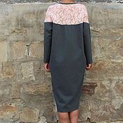 Одежда ручной работы. Ярмарка Мастеров - ручная работа Серое макси миди платье с карманами и длинными рукавами. Handmade.