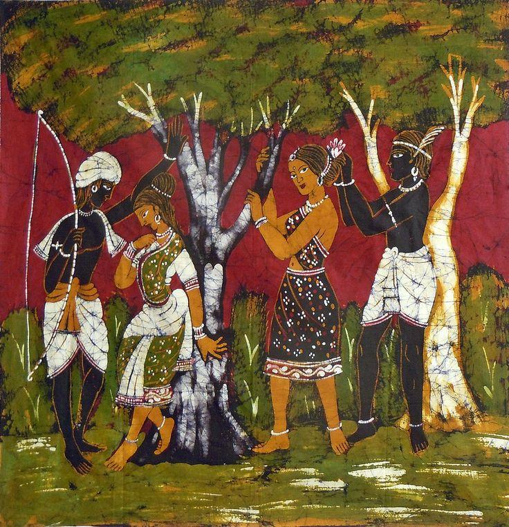 Tribal Couples (Batik Painting on Cotton Cloth - Unframed)
