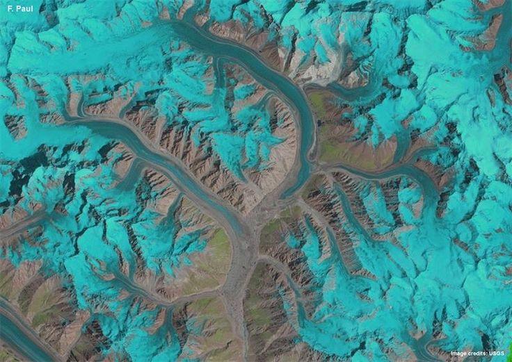 La animación comprimida 25 años de imágenes de satélite en sólo un segundo revela el comportamiento complejo y el flujo de los glaciares en la cordillera...