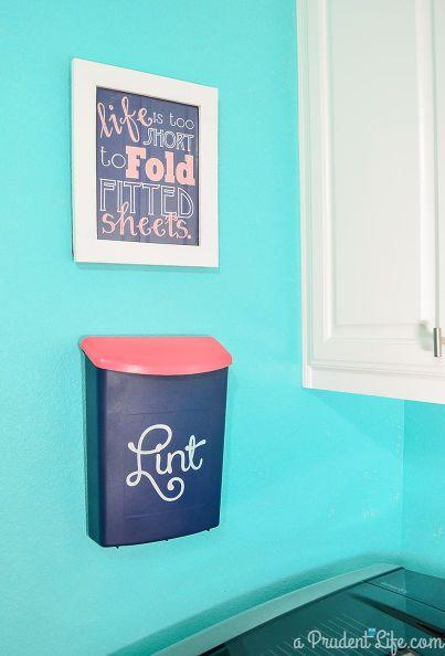 diy laundry room lint bin wall mounted, laundry room art