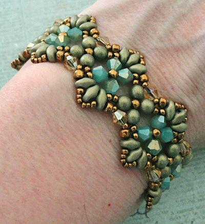Linda's Crafty Inspirations: Bracelet of the Day: Flutter - Aqua & Gold