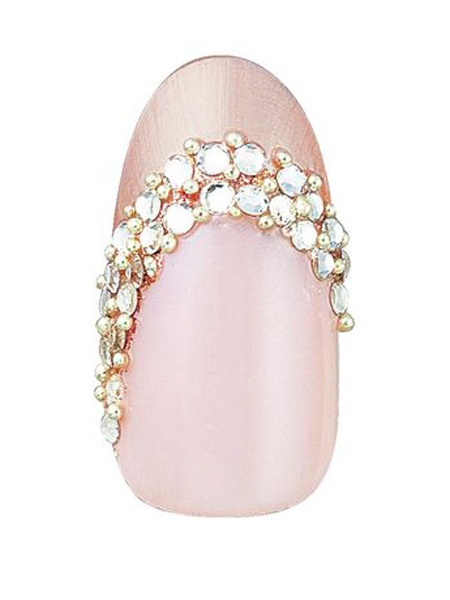 Elegant off-the-center French with rhinestones.