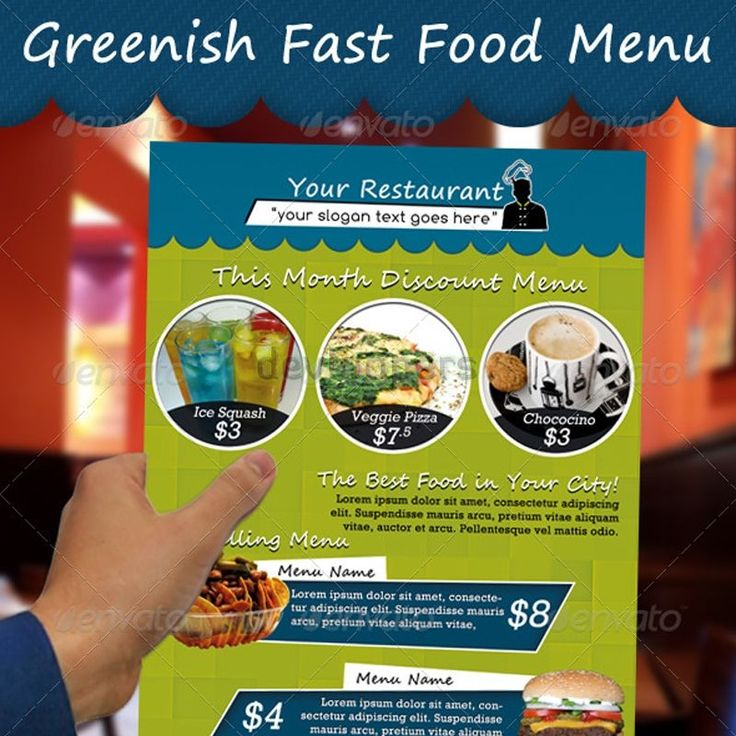 Greenish Fast Food Menu. Get it customized as per your menu only for $18.00