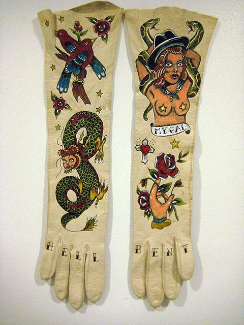Tattooed leather gloves by Ellen Greene   # Pin++ for Pinterest #