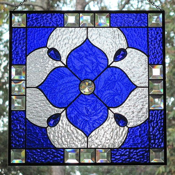 Cobalt Blue Stained Glass Beveled Panel by LivingGlassArt on Etsy