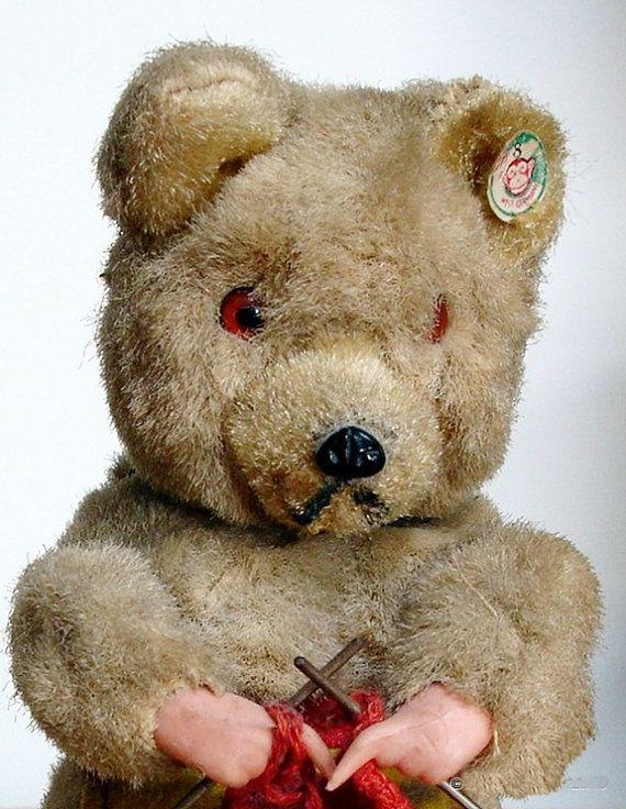 Antique Bear  Original West German Wind up by thevintagearcade, $128.00:  Teddy Bears, Knits Bears, Bears Originals, Antiques Bears, Bears Tins