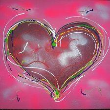 'Hart; schilderij 50 x 50 cm. Acrylen spuitverf op doek.