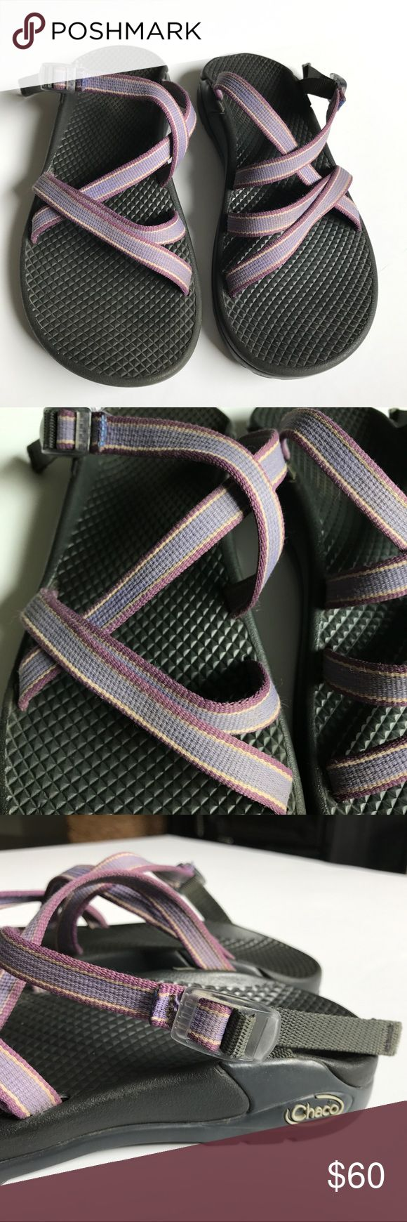Chacos Purple Backless Sports Sandals Size 7 Gently pre-worn. Super comfortable. Vibram soles, great for outdoors. Straps are various shades of purple/lavender and Ivory/cream/tan. Non-smoking home. Chaco Shoes