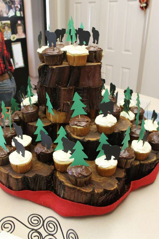Rustic cupcake display at a mountain man lumberjack birthday party! See more party ideas at CatchMyParty.com!