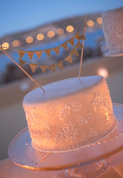 Small blush wedding cake with Just Married banner topper- Mitheo Events | Concept Events Styling