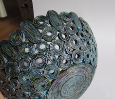 Recycled magazine bowls basket in old blue by fantasmaniaxx