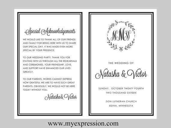 diy wedding program template bifold black monogram leaf wreath