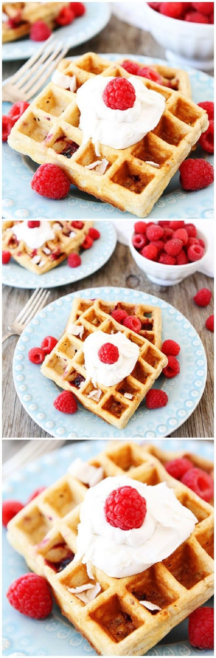 Coconut Raspberry Waffles with Coconut Whipped Cream
