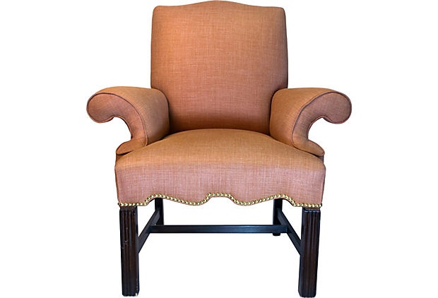 A vintage 1940s Queen Anne style armchair newly upholstered in a rust color light wool and cashmere blend with nailheads around the base.