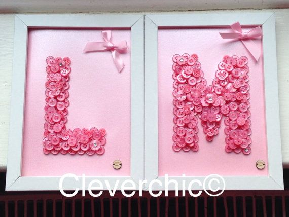 Framed Initial Buttonart in a 7x5 frame by Cleverchic1 on Etsy
