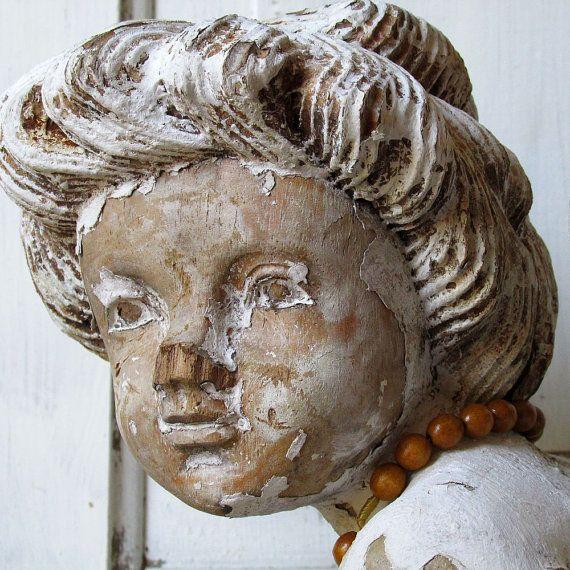 Large wood cherub statue w/ peeling hand by AnitaSperoDesign