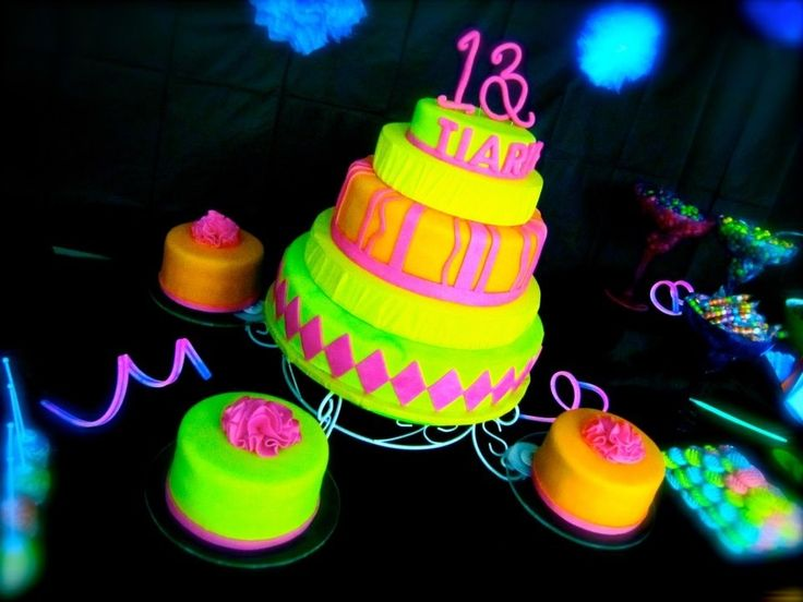 Birthday Cake Photos - My daughter's 13th birthday! The glow in the dark theme was a bit challenging, but I was happy with the end result!