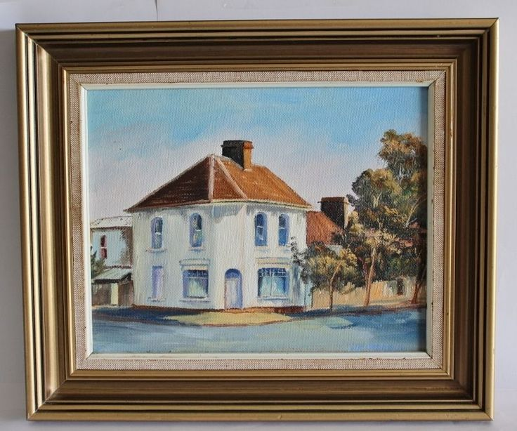 Retro Oil Painting Featuring Paddington Style House In Sydney By E Wetheral