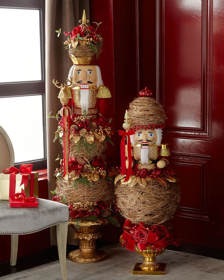 Crimson Amp Gold 45 Quot Nutcracker Topiary Horchow Holiday