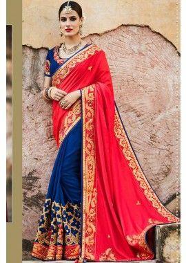 bleu et rouge couleur soie & tussar sari de soie, -  300,00 €  #Sariindienmariage  #Sarimariage  #Sariindien  #Robeindienne  #Sariindien2017  #Tenueindienne  #Shopkund