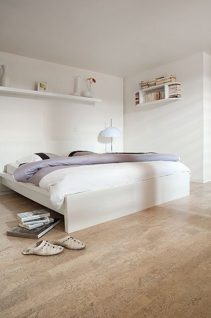 cork flooring in a bedroom - almost looks like hardwood
