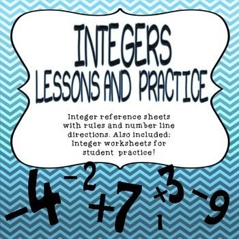 INTEGERS RULES, NUMBER LINE, NOTES AND PRACTICE PROBLEMS W
