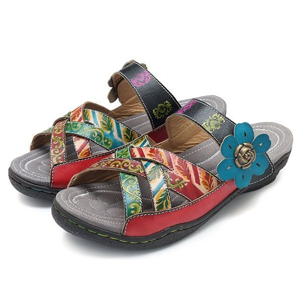 a4a7172b8f6f6 High-quality SOCOFY Bohemian Leather Adjustable Hook Loop Printing Plants Slippers  Sandals - NewChic