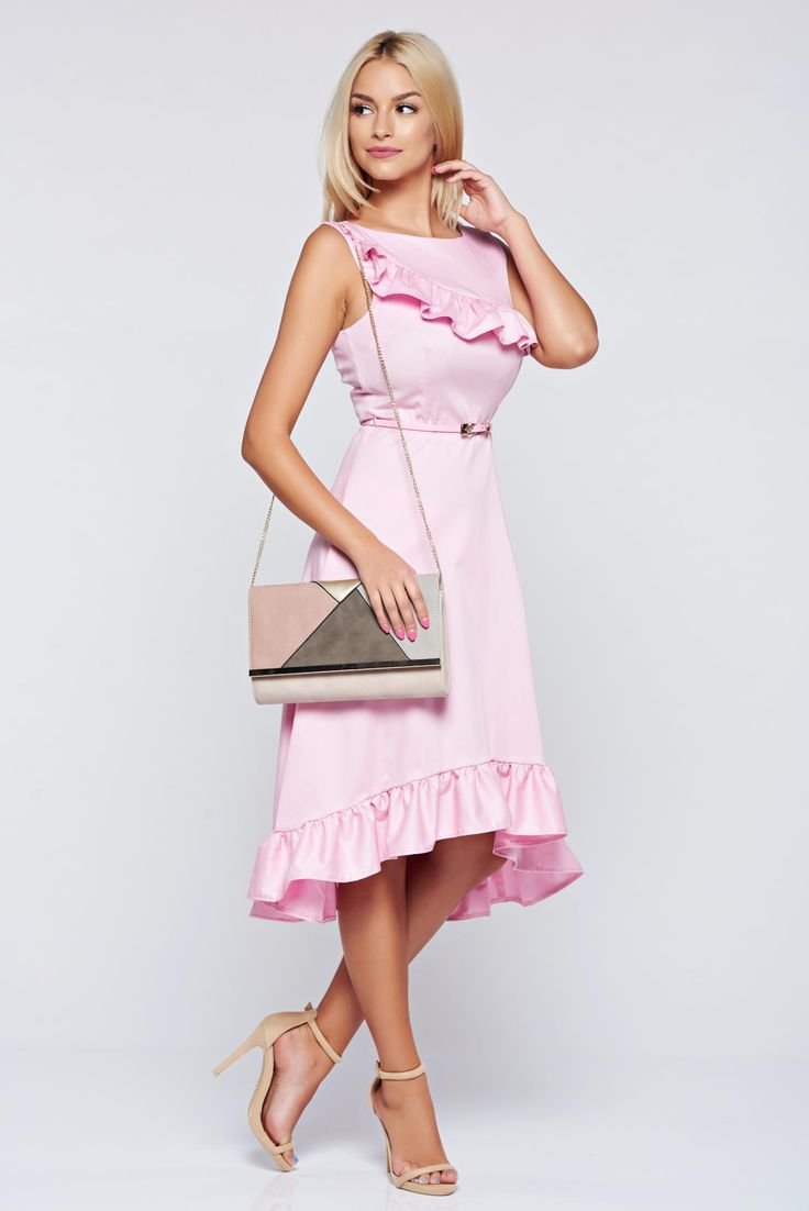 Comanda online, Rochie StarShinerS rosa asimetrica in clos din bumbac. Articole masurate, calitate garantata!