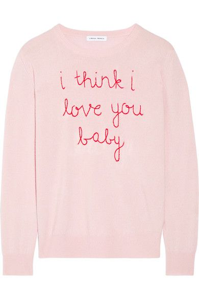 Lingua Franca | I Think I Love You Baby embroidered cashmere sweater | NET-A-PORTER.COM