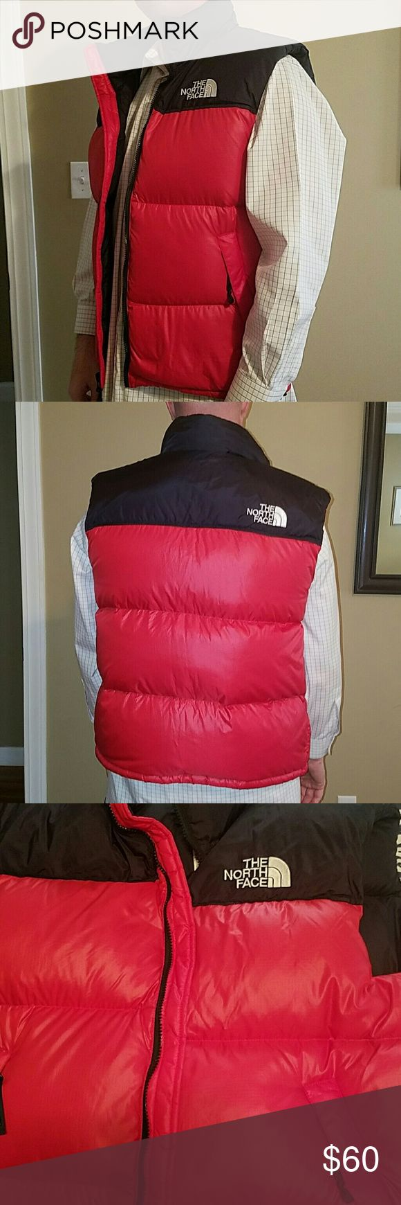 Mens North Face Vest Red and black. Like new. Stow away hood and pockets. 100%Nylon. The North Face Jackets & Coats Performance Jackets