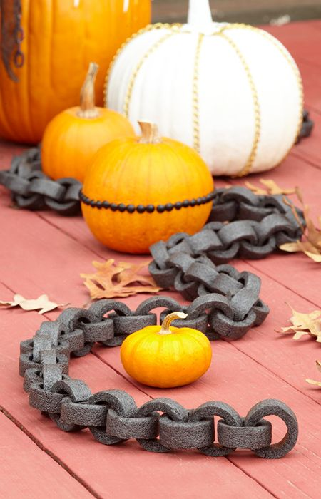 Drape foam chains around a pumpkin, your front door, or on a party table centerpiece. --Lowe's Creative Ideas