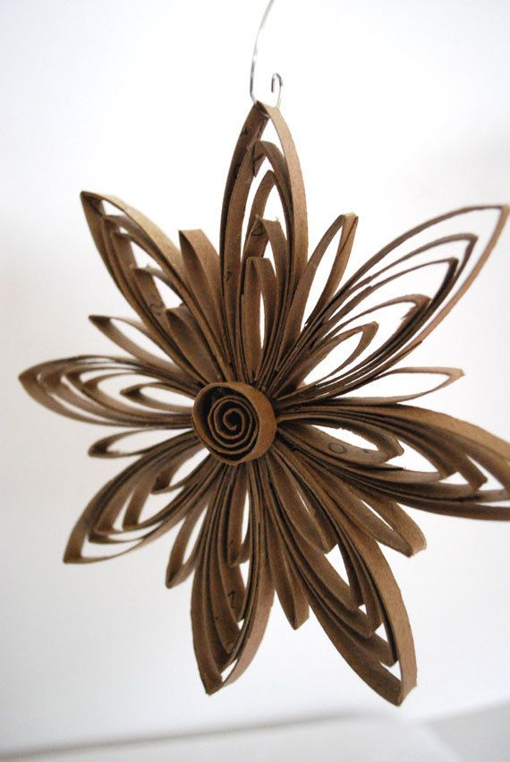Upcycled Paper Snowflake Ornament by upcyclingthegift