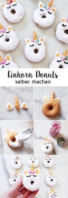 Bake Mini Donuts: Rezept für süße Einhorn-Donuts! Meine Mini-Einhorn-Donuts …   – lecker