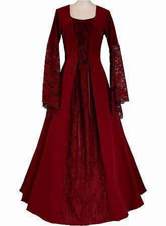 FANTASY & MEDIEVAL WONDERFUL FASHION-- Mierthe's ceremonial dress after she becomes Guardian. It is entirely red, a symbol that she has made her decision and has refused to give into the darkness