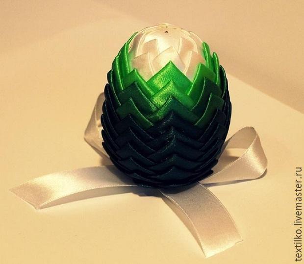 Создаем пасхальное яйцо из атласных лент в технике «артишок» - Ярмарка Мастеров - ручная работа, handmade