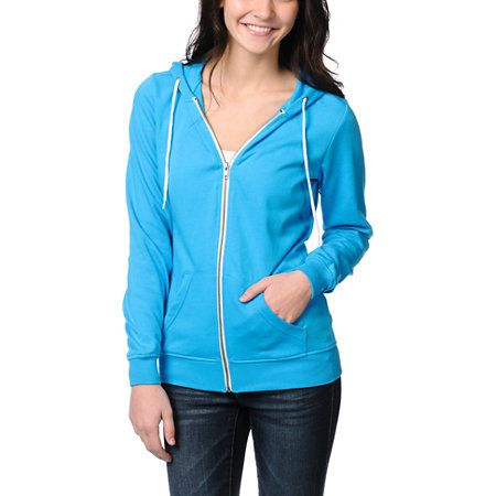 Put a punch of color into your daily outfit with the Hawaiian Ocean blue zip up hoodie from Zine Girls. The lightweight sweatshirt features a soft fleece interior, adjustable drawstring hood, front pockets, and a metal zipper with contrasting zip tape. Layer this bright blue hoodie under your black bomber jacket with a graphic tee for a casual look with color pop where you want it!