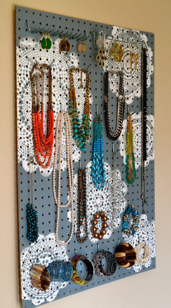 awesome Jewelry Organizer Wall Display, Jewelry Holder, Custom, Hand Painted, Grey