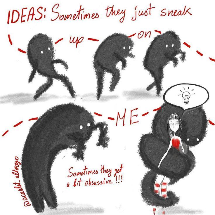 Sometimes they just sneak up on me.  #ideas #illustration #drawing #sketch #scarlet_alterego #ofredandothercolors#dailysketch #illo #torontoartist #toronto #characterdesign #cartoon #comic  #creativity #ideas