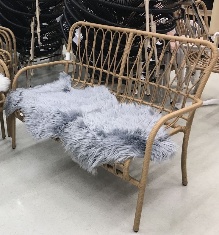Kmart cane 2 seater chair $79 + grey throw $19
