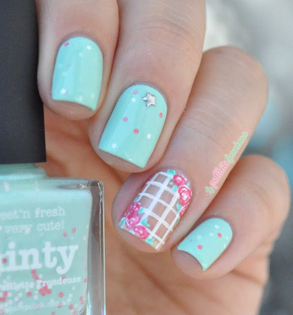 Nailstorming couleurs blog - Picture polish Minty with romantic roses flower nail art - mint nails - http://lapaillettefrondeuse.blogspot.be/2015/07/nailstorming-116-aux-couleurs-de-mon.html