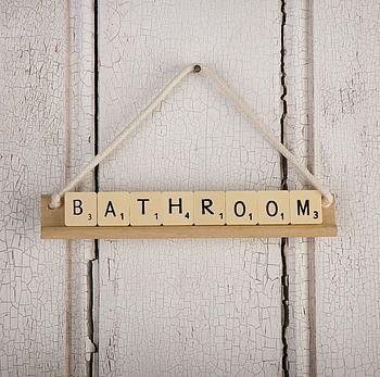 Vintage lettre Salle de bain Toilette S'inscrire