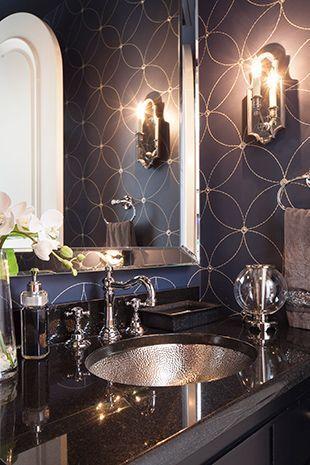 Powder Room… dark walls, black counter with nickel sink and fixtures, stunning