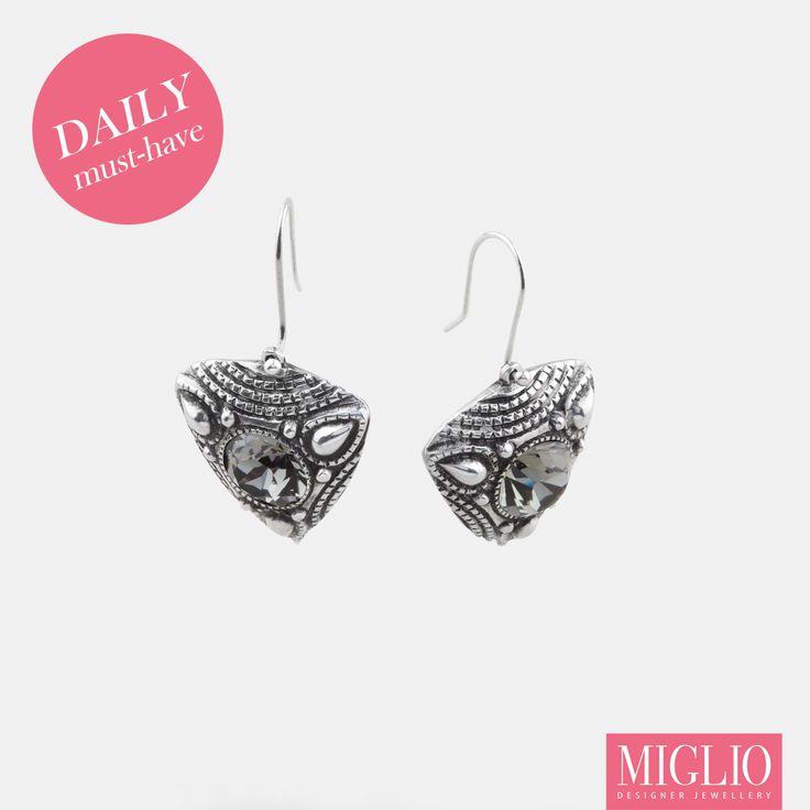 Eclectic filigree black #diamond #Swarovski crystal #earrings