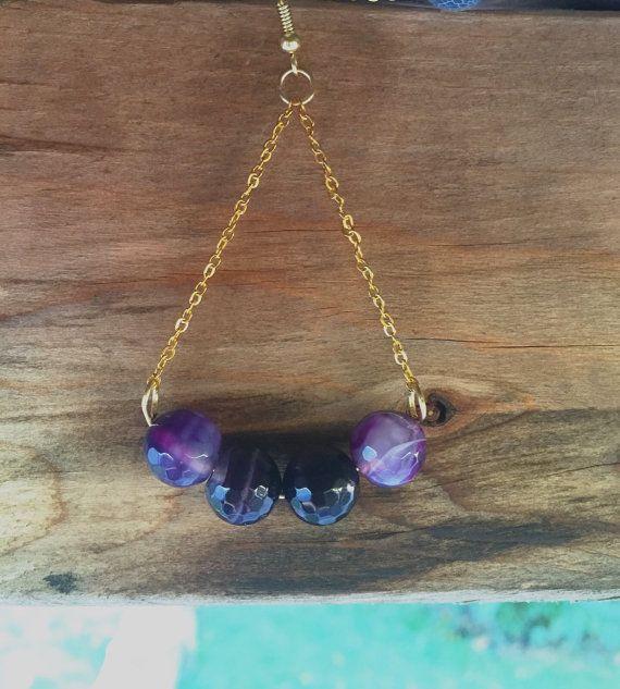 Long Purple Earrings Purple And Gold Earrings Deep by Wikklow