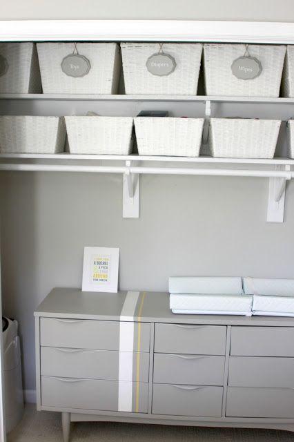 Nursery closet make over... cool idea for a small room