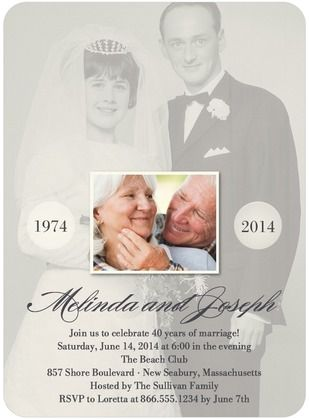 Today and Yesterday - Anniversary Invitations - LIght gray
