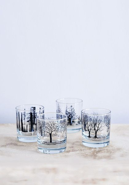 "This lovely boxed set of four heavy bottomed glasses will make a special and unique gift that's perfect for a variety of occasions whether for a wedding, engagement or birthday. The glass set is decorated with bold printed images of trees and includes one of each design – oak, blossom, birch and fir. Handmade in Stoke, UK.  ""Best Xmas gift under £40"" – Sunday Telegraph ""Best glasses for mulled wine"" – Guardian ""Best Xmas gift under £50"" – Grand Designs £40"