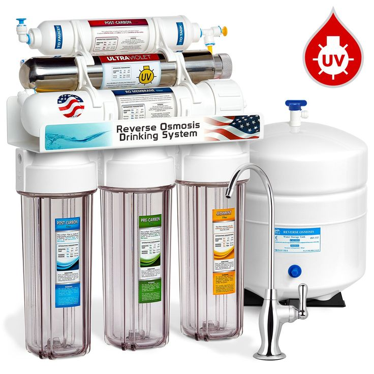 6 Stage UV Ultra-Violet Sterilizer Reverse Osmosis Home Drinking Water Filtration System - Clear Housing -100gpd- DELUXE faucet - ROUV10DC - EXPRESS WATER