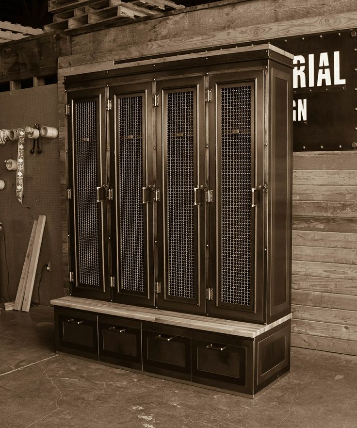 Vintage industrial inspired storage for an entryway or locker room. Larger drawer storage underneath, lockers up top. This piece is built to order and can be customized in many ways.